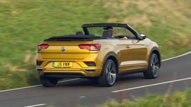 Volkswagen T-Roc Cabriolet driving away from camera