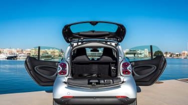 Smart EQ ForTwo hatchback boot and doors open