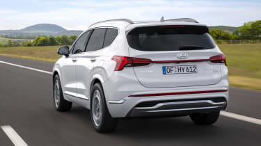 2020 Hyundai Santa Fe driving - rear