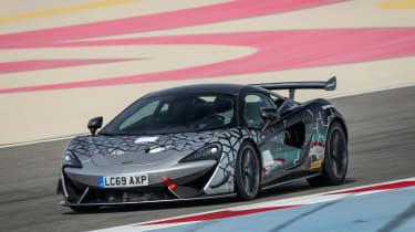 McLaren 620R - front 3/4 dynamic track shot