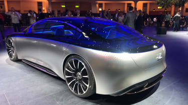 Mercedes EQS electric saloon concept - LH static 3/4 rear shot - Frankfurt