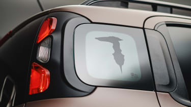 New Fiat Panda Trussardi limited edition - Rear c-pillar window with Trussardi logo