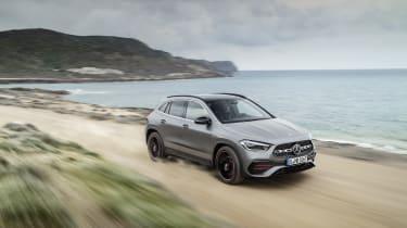Mercedes GLA driving on gravel