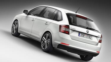 Skoda Rapid Spaceback hatchback 2013 white rear