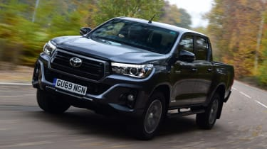 Toyota Hilux pickup front driving