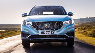 MG ZS EV SUV front driving
