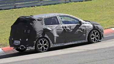 Hyundai i20 N development car - Nurburgring - rear 3/4 passing view