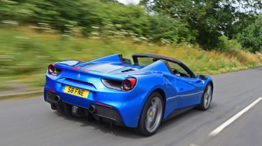 Ferrari 488 Spider convertible rear tracking