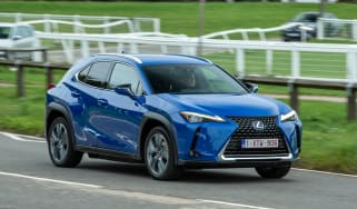 Lexus UX 300e SUV front 3/4 tracking