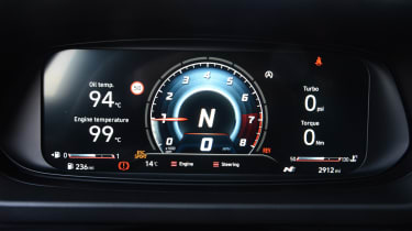 Hyundai i20 N hatchback black dials
