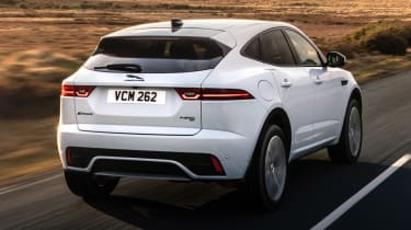 Jaguar E-Pace SUV review rear 3/4 tracking