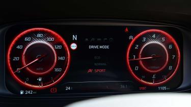 Hyundai i20 N hatchback instruments red