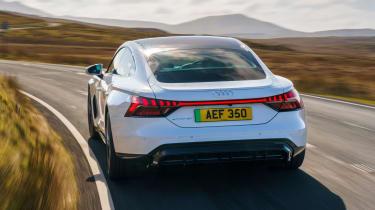 Audi e-tron GT saloon rear driving