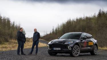 Aston Martin DBX prototype alongside Matt Becker, DBX chief engineer, and Steve Fowler
