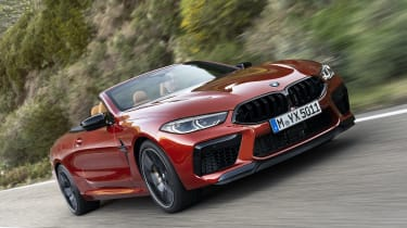 BMW M8 Competition convertible - front view 3/4 driving