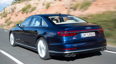 Audi S8 saloon rear 3/4 tracking