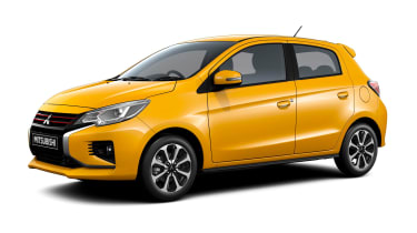 2020 Mitsubishi Mirage - Static front 3/4 in Sand Yellow