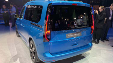 Blue Volkswagen Caddy rear