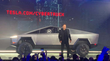 Tesla Cybertruck - side view at official unveiling