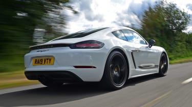 Porsche 718 Cayman coupe rear 3/4 tracking