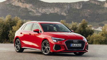 Audi A3 Sportback front 3/4 red