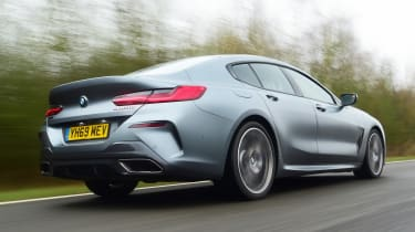 BMW 8 Series Gran Coupe saloon rear 3/4 tracking