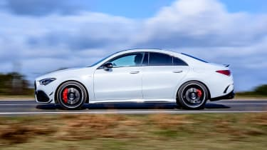 Mercedes-AMG CLA 45 saloon side panning
