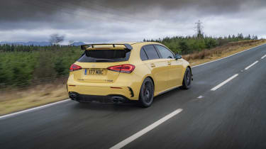 Mercedes-AMG A 45 S hatchback - rear 3/4 low dynamic view