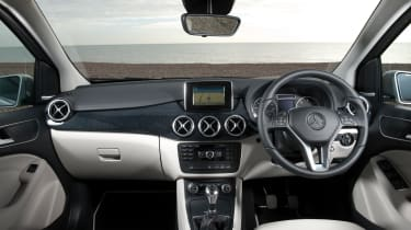The B-Class has an upmarket dashboard for the class, even if the infotainment screen does look a little aftermarket