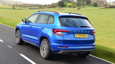 Skoda Karoq SUV rear 3/4 tracking