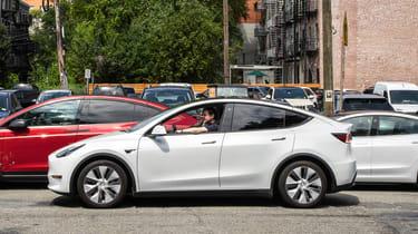 Tesla Model Y SUV side panning