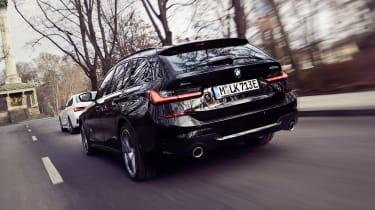 2020 BMW 330e Touring - rear 3/4 view dynamic