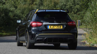 It uses the same 376bhp turbocharged engine as the A-Class mega hatch, but has extra ground clearance