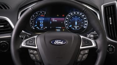 Clear dials and logically placed controls mark out the Galaxy's dashboard
