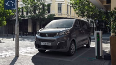 Peugeot e-Traveller charging at on-street charger