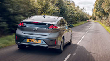 Hyundai Ioniq Hybrid review rear driving