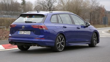 2021 Volkswagen Golf R estate prototype going around roundabout - rear