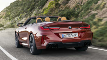 BMW M8 Competition convertible - rear view 3/4 driving
