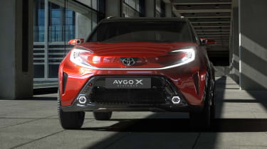 Toyota Aygo X Prologue front end - lights illuminated