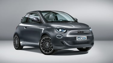 2020 Fiat 500 electric convertible - front 3/4 view