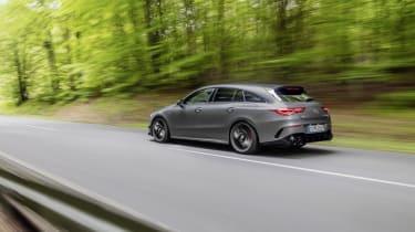2019 Mercedes-AMG CLA 45 S Shooting Brake - side rear view panning shot