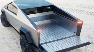 Tesla Cybertruck - rear 3/4 view load bed