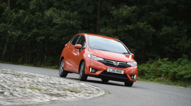 The Honda Jazz has fairly soft suspension and light steering, so there is some body lean in corners