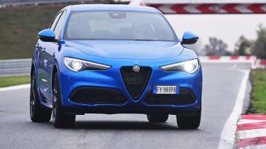 Alfa Romeo Stelvio SUV front on track