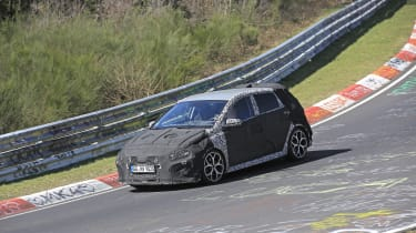 Hyundai i20 N development car - Nurburgring - front 3/4 view passing