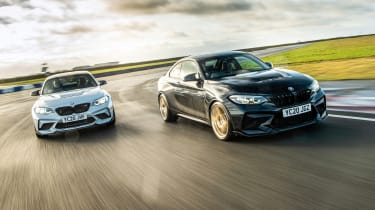 Pair of BMW M2s on track