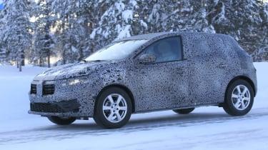 2021 Dacia Sandero winter testing - front 3/4 dynamic