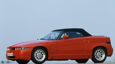 Although the Alfa Romeo 75 chassis lurked beneath, the SZ and RZ (pictured) was among the most unmistakeable cars ever
