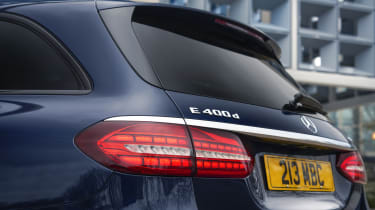 Facelifted Mercedes E-Class estate rear end detail