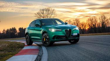 Alfa Romeo Stelvio Quadrifoglio on racetrack